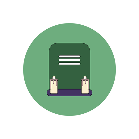 decomposition: Vector illustration in flat design Halloween icon grave monument with candles