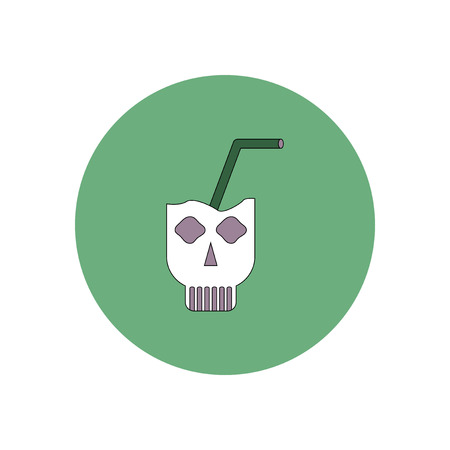 Vector illustration in flat design Halloween icon Doodle coctail in skull