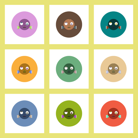 flat icons Halloween set of monster head concept on colorful circles
