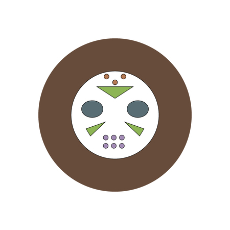 Ilustración del vector en diseño plano de la máscara de Halloween icono de hockey