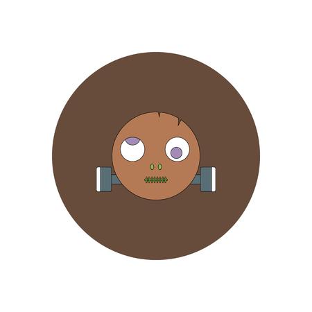 Vector illustration in flat design Halloween icon monster head