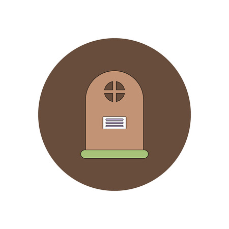 decomposition: Vector illustration in flat design Halloween icon grave monument