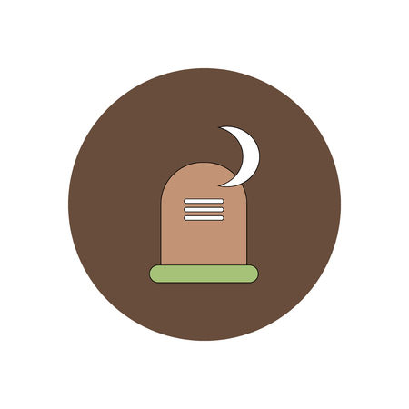 decomposition: Vector illustration in flat design Halloween icon grave monument and moon