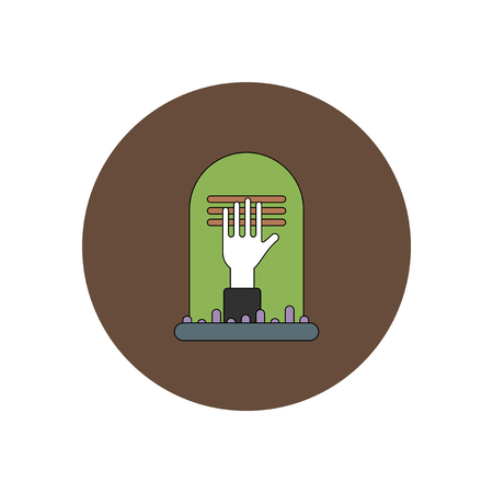 dying: Vector illustration in flat design Halloween icon grave monument and hand