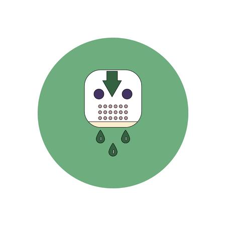 Ilustración del vector en icono de diseño plano de Halloween sangriento máscara de hockey