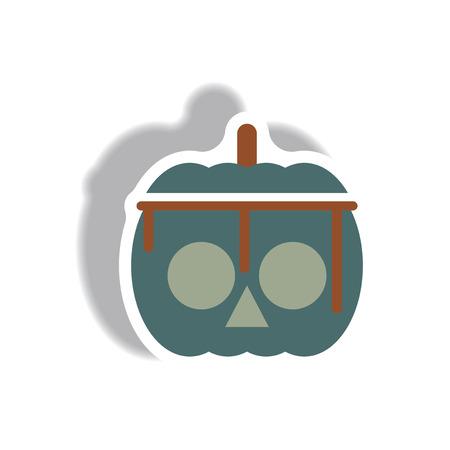 Vector illustration paper sticker Halloween icon bloody pumpkin Illustration