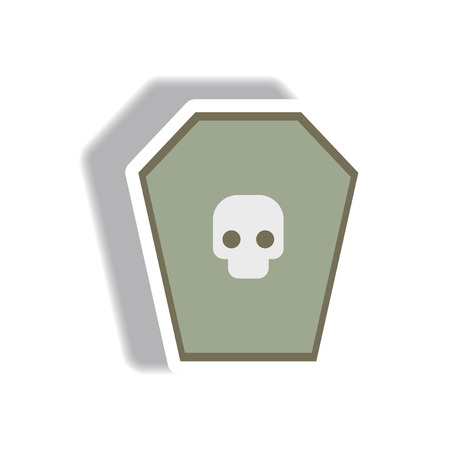 dying: Vector illustration paper sticker Halloween icon grave monument and skull Illustration