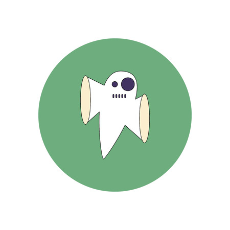 Vector illustration in flat design Halloween icon ghost Illustration