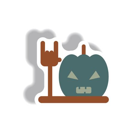 31st: Vector illustration in flat design Halloween icon pumpkin and hand