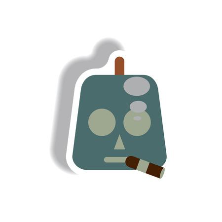 Vector illustration paper sticker Halloween icon pumpkin and cigar