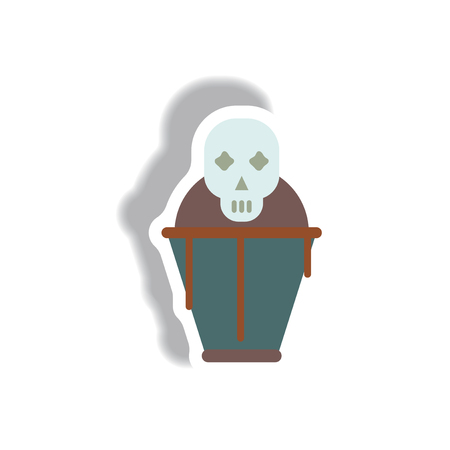 Vector illustration paper sticker Halloween icon coffin and skull Illustration