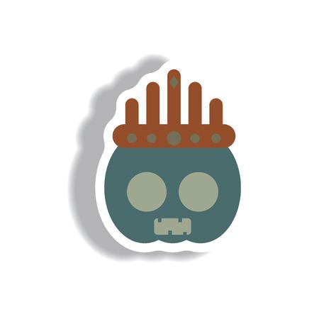 31st: Vector illustration paper sticker Halloween icon pumpkin and crown