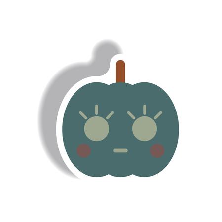 Vector illustration paper sticker Halloween icon pumpkin