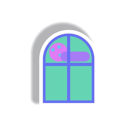 haunt: Vector illustration paper sticker Halloween icon cloud and full moon seen from a window