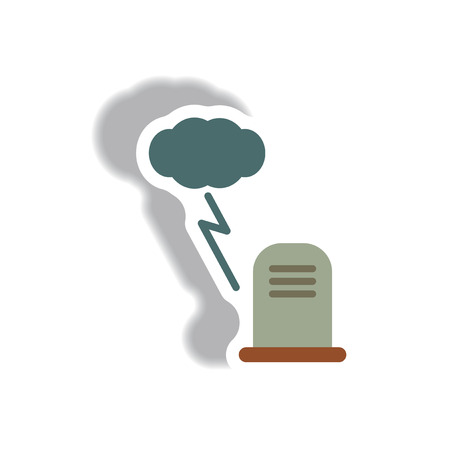 Vector illustration paper sticker Halloween icon grave monument and lightning cloud Illustration