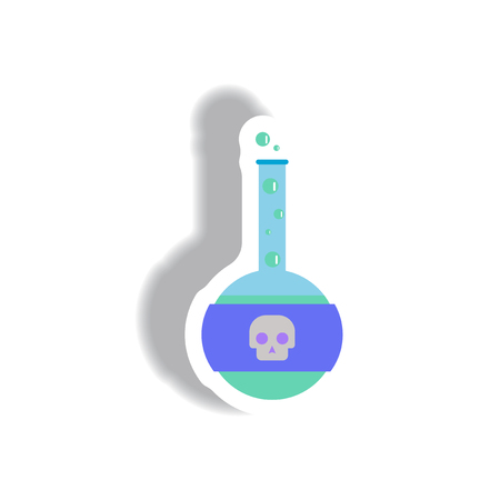Vector illustration paper sticker Halloween icon test tube with potion