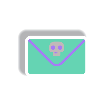 unwanted: Vector illustration paper sticker Halloween icon Envelope with skull Illustration