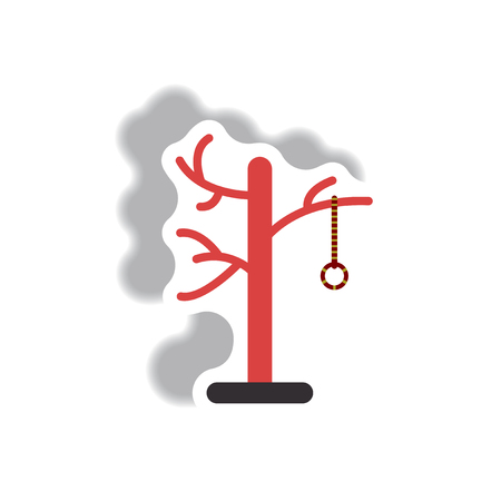 Vector illustration paper sticker Halloween icon Gallows on a tree Illustration