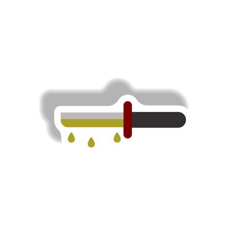 Vector illustration paper sticker Halloween icon bloody knife