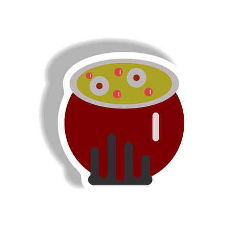 Vector illustration paper sticker Halloween icon Magic kettle with potion Illustration