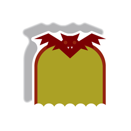Vector illustration in flat design Halloween icon Vampire Bat