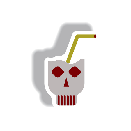 Vector illustration paper sticker Halloween icon Doodle coctail in skull
