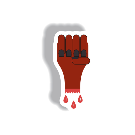 rising dead: Vector illustration paper sticker Halloween icon bloody zombie undead hand