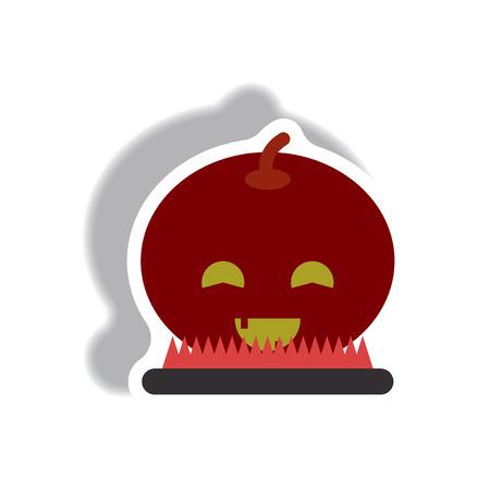 31st: Vector illustration paper sticker Halloween icon smiling pumpkin Illustration
