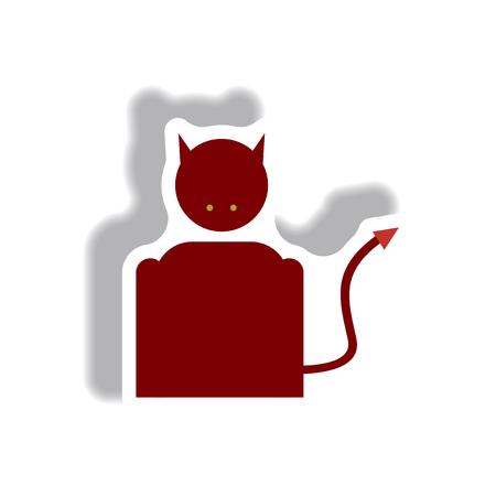 lucifer: Vector illustration paper sticker Halloween icon Devil