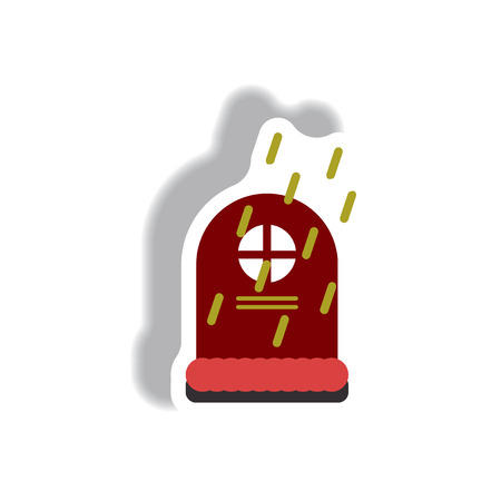 Vector illustration paper sticker Halloween icon grave monument and rain