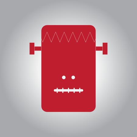 Vector illustration in flat design Halloween icon monster