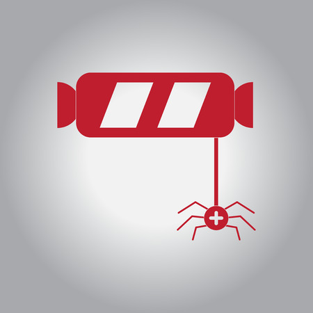 Vector illustration in flat design Halloween icon candy and spider Illustration