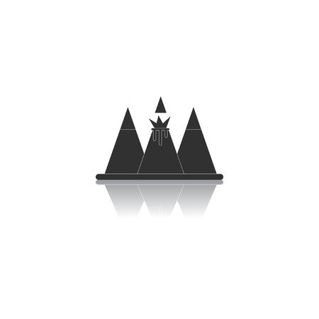 volcano mountain top exploding: Black and white Vector illustration in flat design of volcano explosion between the mountains