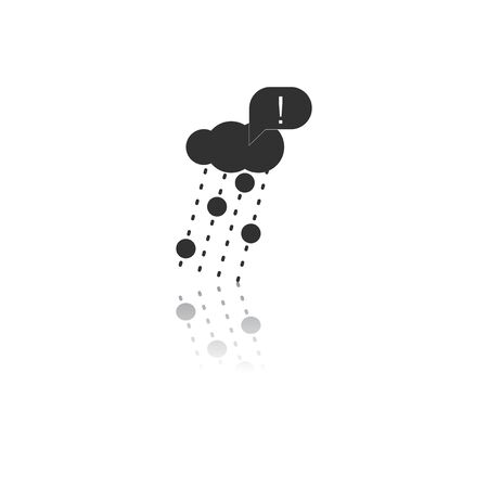 Black and white Vector illustration in flat design of rain with volcanic elements and exclamation mark