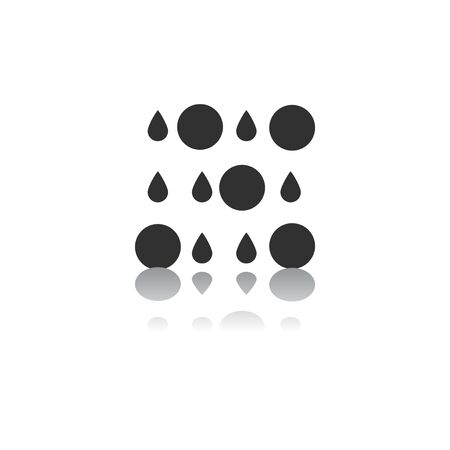 volcanic: Black and white Vector illustration in flat design of rain with volcanic elements