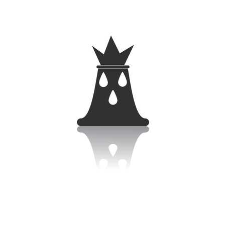 volcano mountain top exploding: Black and white Vector illustration in flat design of volcano explosion and drops Illustration