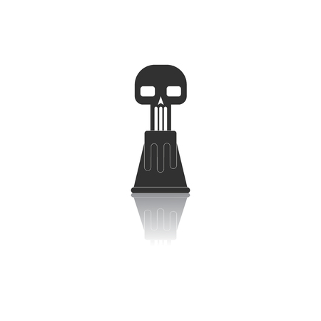 ash cloud: Black and white Vector illustration in flat design of volcano explosion and skull