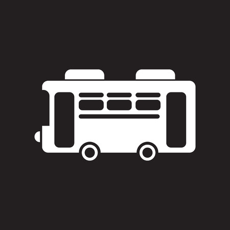 woodstock: flat icon in black and white  style retro bus Illustration