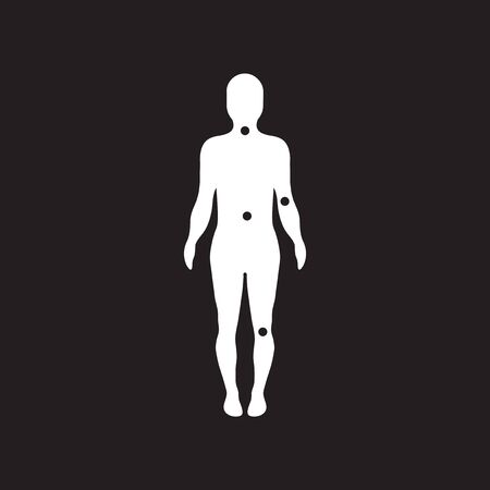 osteoarthritis: flat icon in black and white  style body osteoarthritis Illustration