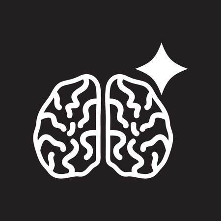 frontal lobe: flat icon in black and white  style brain stroke Illustration
