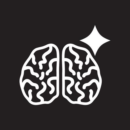 homeostasis: flat icon in black and white  style brain stroke Illustration
