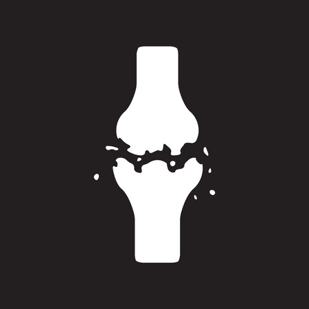 osteo: flat icon in black and white  style bone fracture