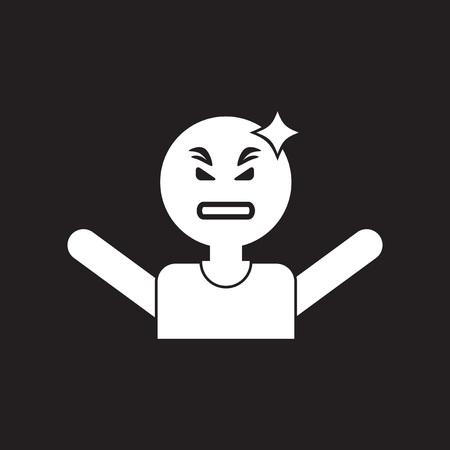 headache man: flat icon in black and white  style man headache