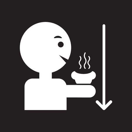 coffe break: flat icon in black and white  style man drinking hot