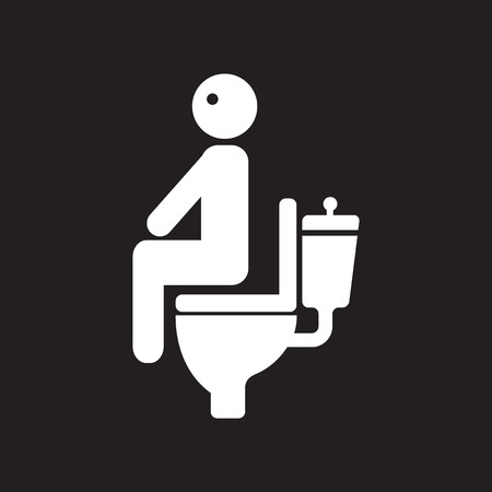 diarrhoea: flat icon in black and white  style people diarrhea