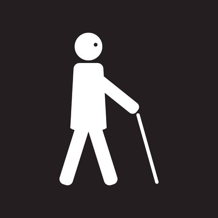retiree: flat icon in black and white  style man with stick