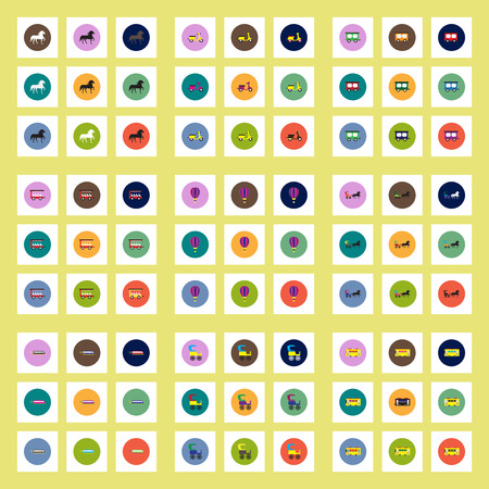 chariot: Collection of stylish vector icons in colorful circles Different kinds of transport