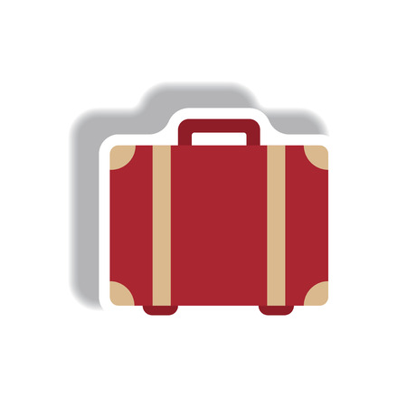 stylish icon in paper sticker style travel suitcase Illustration