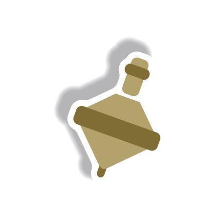 icona di stile in carta stile adesivo giocattolo whirligig Vettoriali