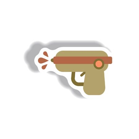 stylish icon in paper sticker style water gun Illustration